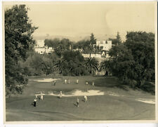 Large 1920s Golf Photo of 11 Golfers on the Green by a Large Hotel