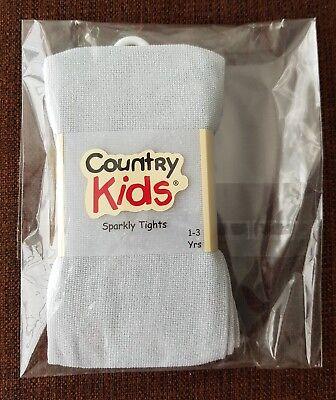 Il Piccolo White Company/paese Bambini Collant Luccicanti D'argento (1-3yrs)-y Kids Silver Sparkly Tights (1-3yrs) It-it