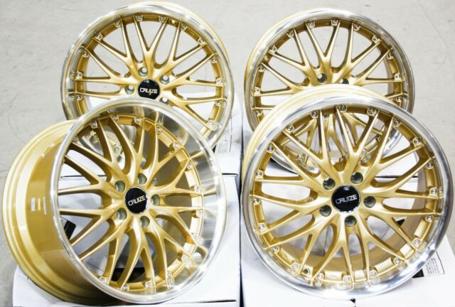 """ALLOY WHEELS 19"""" CRUIZE 190 GDP DEEP DISH LOAD RATED STAGGERED GOLD DIAMOND CUT"""