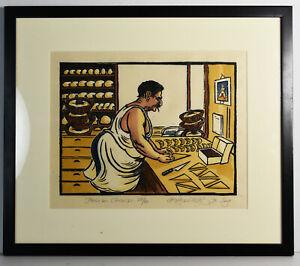 14-034-Signed-Richard-Coze-Print-Kitchen-Decor-French-Chef-Baker-Art-Gift-Chocolat