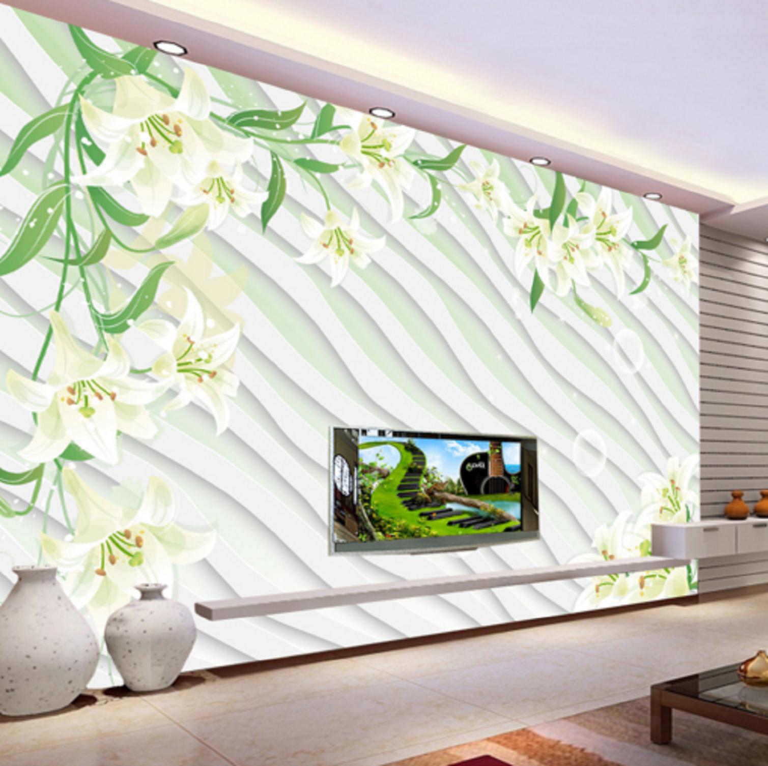 3D Blase Wellen Lilien Blumen 45 Tapeten Mauer Foto Familie Tapete Wandgemälde