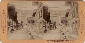 Suisse Rue Da Meiringen Foto Stereo A.Blocco Parigi Vintage Albumina Ca 1870
