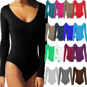 Womens-Ladies-Scoop-Neck-Bodysuit-Long-Sleeve-Leotard-Plain-Stretch-Basic-Top