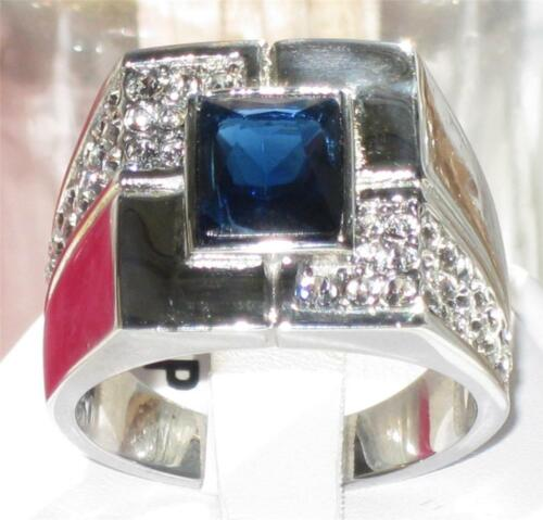 Mens azul zafiro anillo de corte de la esmeralda CZ Acero Inoxidable Signet no empañar 587