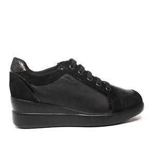 Geox sneaker con zeppa colore nero D6430A 02285 C9999 Autunno Inverno 2017 2018