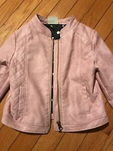 Outerwear Practical Target Pink Pleather Leather Motto Girls Jacket 4t 4 Genuine Kids Osh Kosh Euc Beneficial To The Sperm Girls' Clothing (newborn-5t)