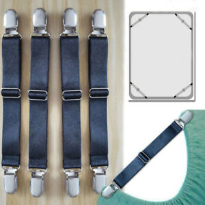 4X Adjustable Bed Sheet Fasteners Suspenders Straps Mattress Cover Gripper Clips