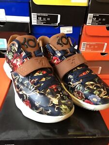 brand new ff4a0 76352 Details about NIKE KD 7 EXT FLORAL QS 726438 400 midnight navy black  hazelnut 12 Kevin Durant