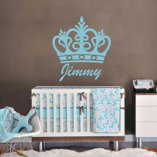Crown Princess Prince Customize Name Vinyl Wall Sticker Decal Boys Girls Bedroom