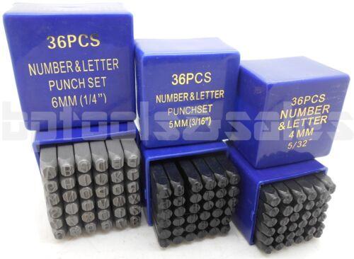 """144pc 1//4/'/' 3//16/"""" 5//32/"""" 3//8/"""" Size Letter /& Number Stamp Set Hardened Steel Metal"""