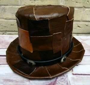 Unique-OOAK-GENUINE-LEATHER-Patchwork-Browns-Steampunk-Top-Hat-SA