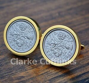 gold sixpence cufflinks 6d coin birthday anniversary present gift