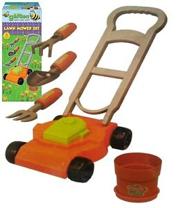 Toy-Lawn-Mower-6-Piece-Garden-Set-Childrens-Fork-Trowel-Rake-amp-Plant-Pot-TY-6954