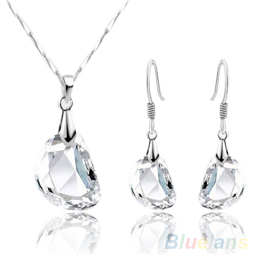 Elegant Womens Crystal White Gold Plated Necklace Earrings Jewelry Set Hot Sale!
