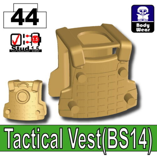 compatible with toy brick minifigures Dark Tan BS14 Tactical Army Vest W253