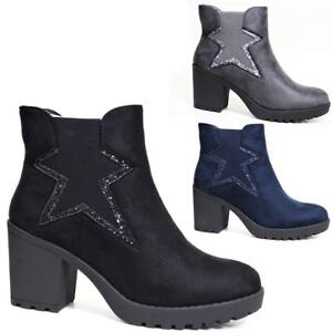 New-Womens-Ladies-Ankle-Boots-High-Block-Heel-Pull-Casual-Chelsea-Shoes-Sizes