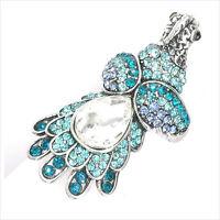 Phoenix Bird Motif Finger Cocktail Ring Fashion Costume Jewelry Crystal Blue 3d