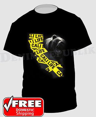 CALI LIFE State Bear & Yellow Caution Tape Black T-Shirt New Mens California Tee