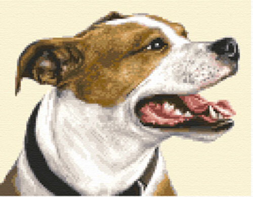 STAFFORDSHIRE BULL TERRIER dog full counted cross stitch kit