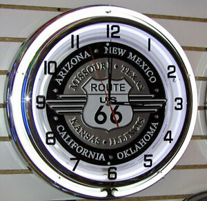 Route-66-Highway-Sign-Large-Neon-Clock