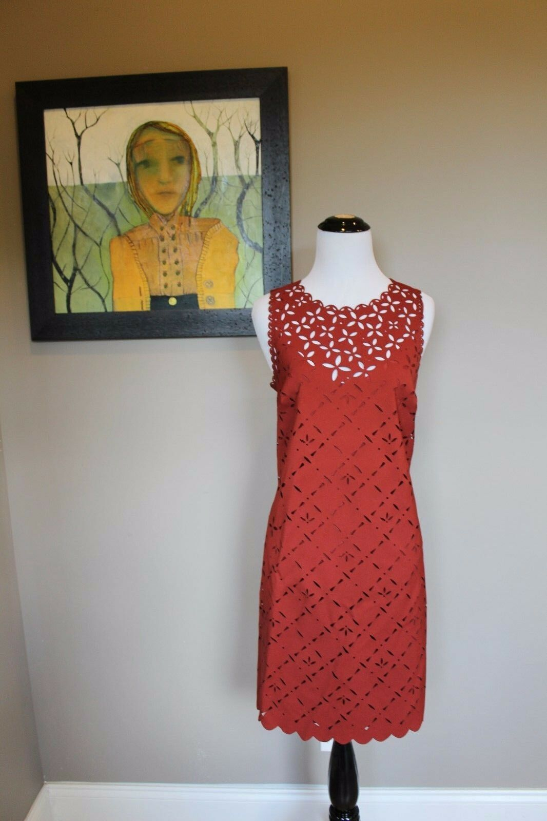 NWT J Crew Lace Cut Floral Shift Dress in Dark Cognac Sz 8 Medium B8789