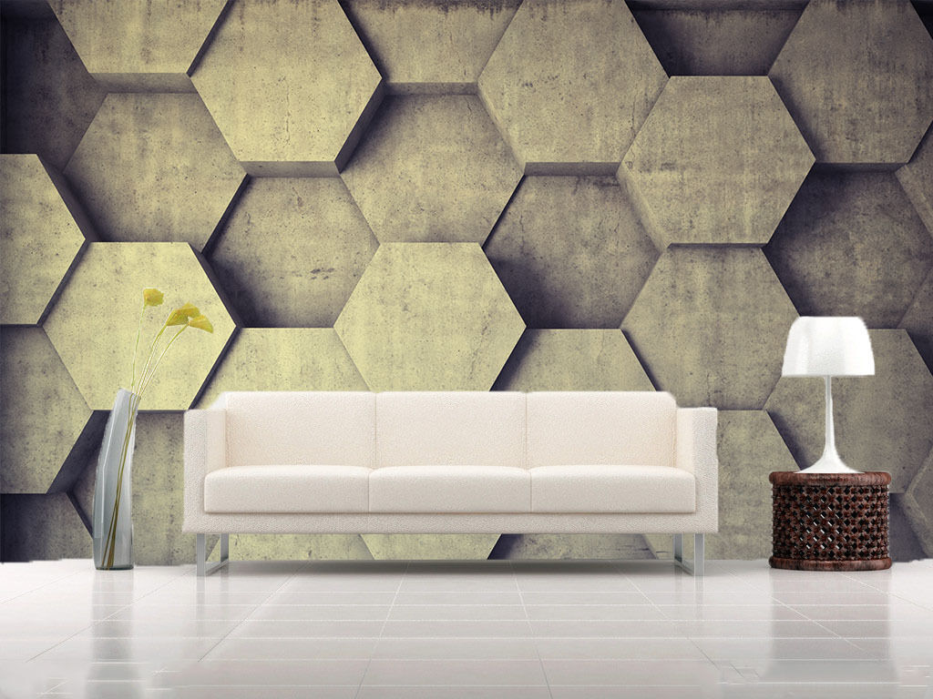3D Cement Hexagons 810 Wall Paper Wall Print Decal Wall Deco Wall Indoor Murals