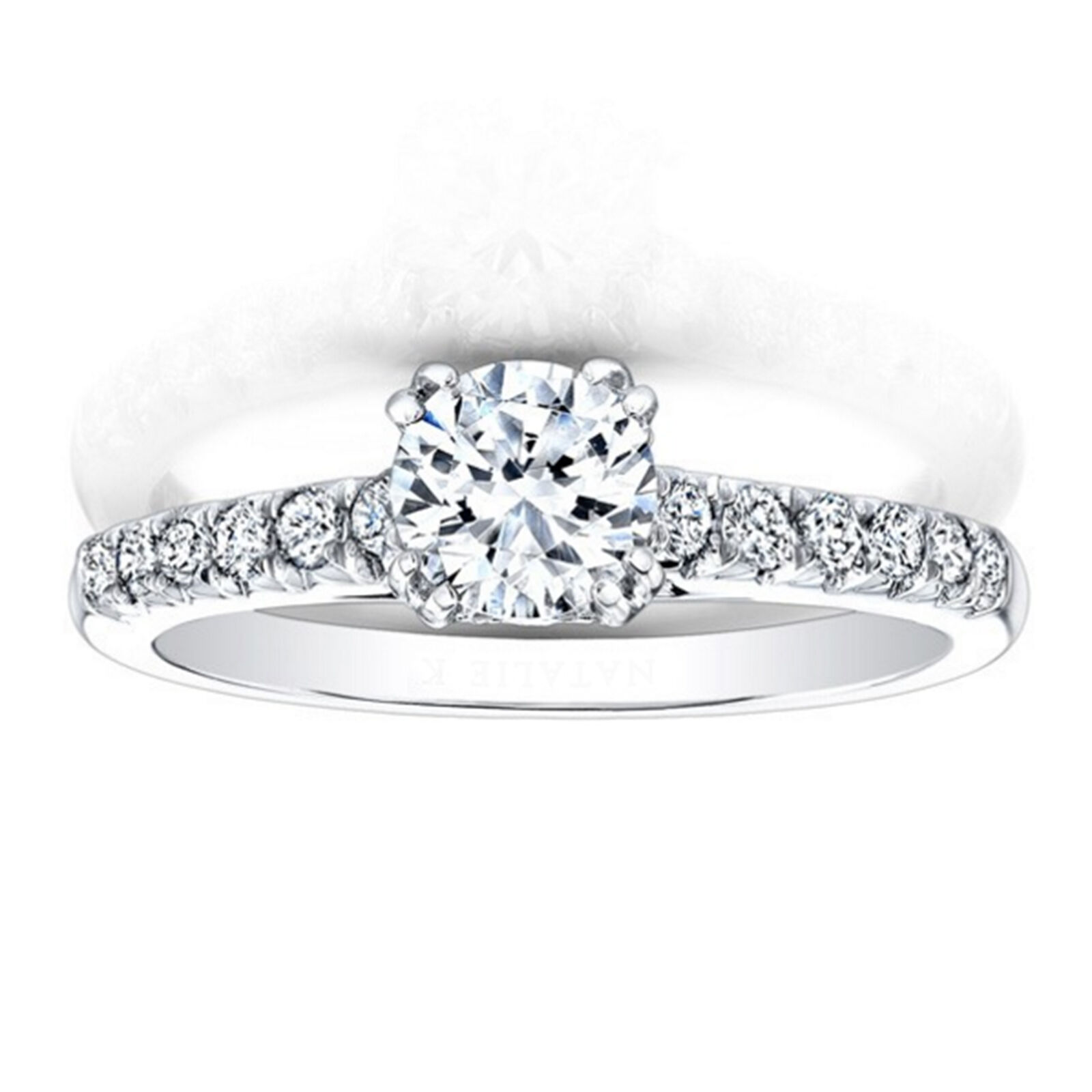 Solid 14K White gold 0.82 Ct Moissanite Diamond Engagement Rings Size 5 6.5 7 8