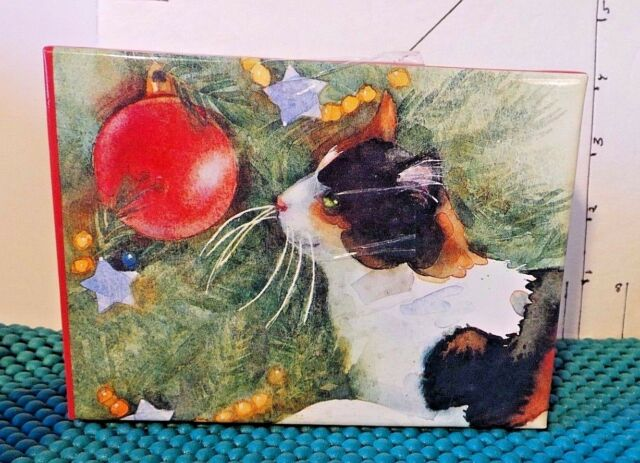 Christmas Note Cards, Cat Looking At Tree, by Leslie Baker, Galison Holiday Coll