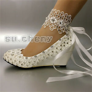 Brautschuhe Su Cheny White Light Ivory Snow Wedges Pearls