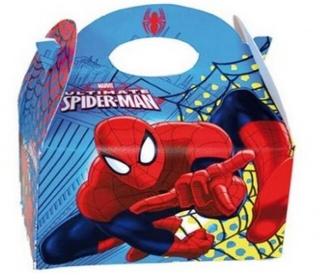 45 Spiderman Food Boxes  Picnic Carry Meal Box  Kids Birthday Party Bag Plate