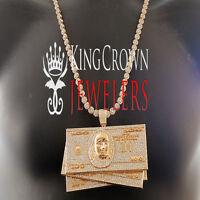 Xxl Big Custom Pendant Rose Gold Lab Diamond Cash $100 Bills Money+ Flower Chain