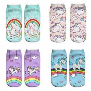 Harajuku Cute Cartoon Unicorn Socks Women Funny 3D Print Short...