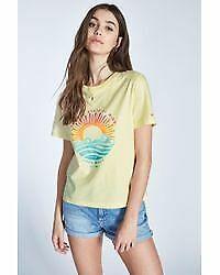 Jack Wills Graphic T-Shirt Tee Top Short Sleeve Ladies Yellow Size 6 *REF155