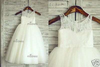 2016 Lace Tulle Flower Girl Dress Wedding Easter Junior Bridesmaid Baptism Baby