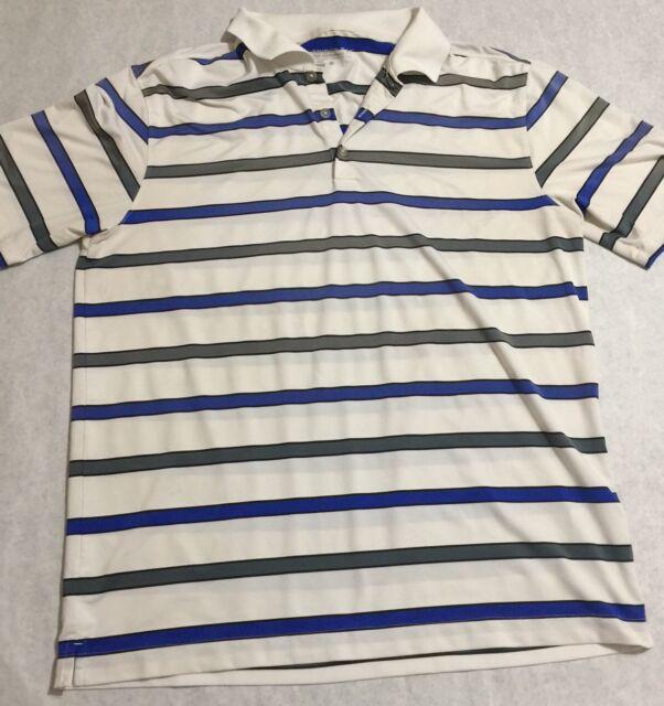 d08bc89ce8fec Details about Nike Golf Dri Fit Striped Polo Shirt Men's Size L Blue White  Short Sleeve