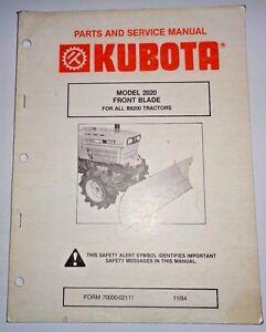 kubota 2020 front blade parts and service manual used on b8200 rh ebay com Kubota B9200 Tractor Engine Kubota B8200 HST 4WD Tractor