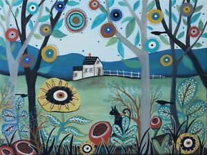 Pleasant-Afternoon-12-x-16-ORIGINAL-CANVAS-PAINTING-Folk-ART-PRIM-Karla-Gerard
