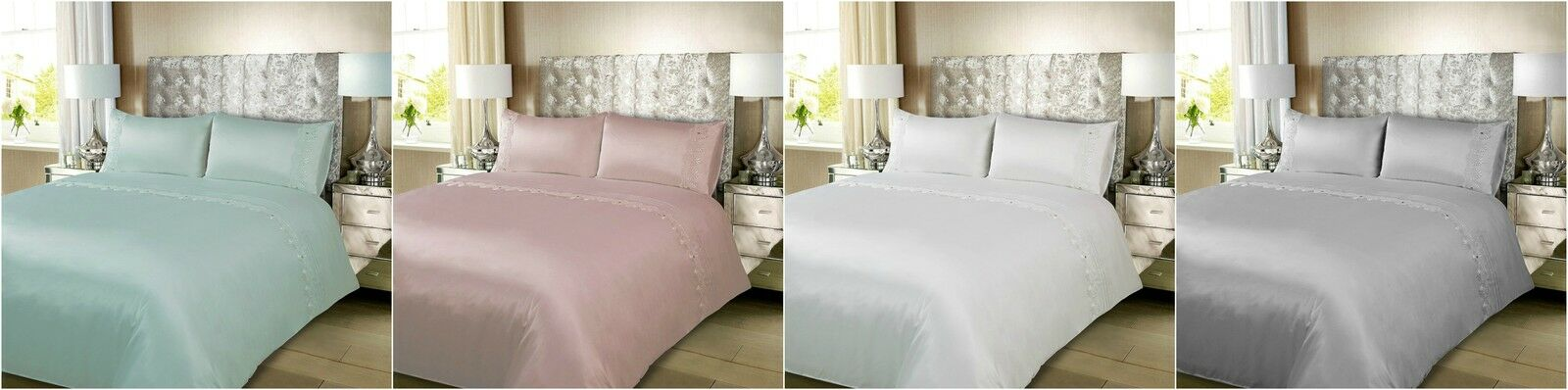 Karina Bailey Charlotte Modern Look Design Satin Lace Gem King Größe Duvet Set