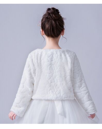 Girl Faux fur long sleeve bolero jacket shrug wedding baptism communion coat