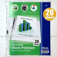 20 Top Loading Clear Sheet Protectors Fits 3 Ring Binder 85 X 11 Paper Page C57