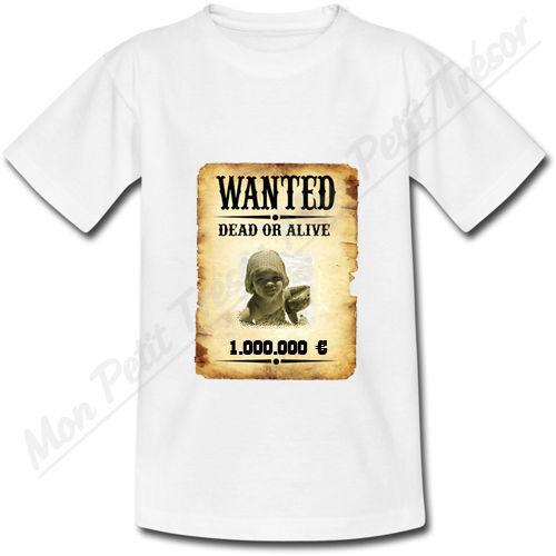 T-shirt Homme Affiche Wanted Western personnalisé avec votre photo S au 2XL
