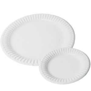 Image is loading 100-Small-&-100-Big-PAPER-PLATES-white-  sc 1 st  eBay & 100 Small \u0026 100 Big PAPER PLATES . . . . white party ware snack ...