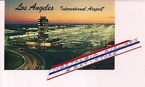 LOS-ANGELES-INTERNATIONAL-AIRPORT-AT-SUNSET-1960-039-S-POSTCARD-PLASTICHROME