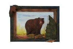 Black-Bear-Wood-Carving-Wall-Art-Cabin-Rustic-Decor