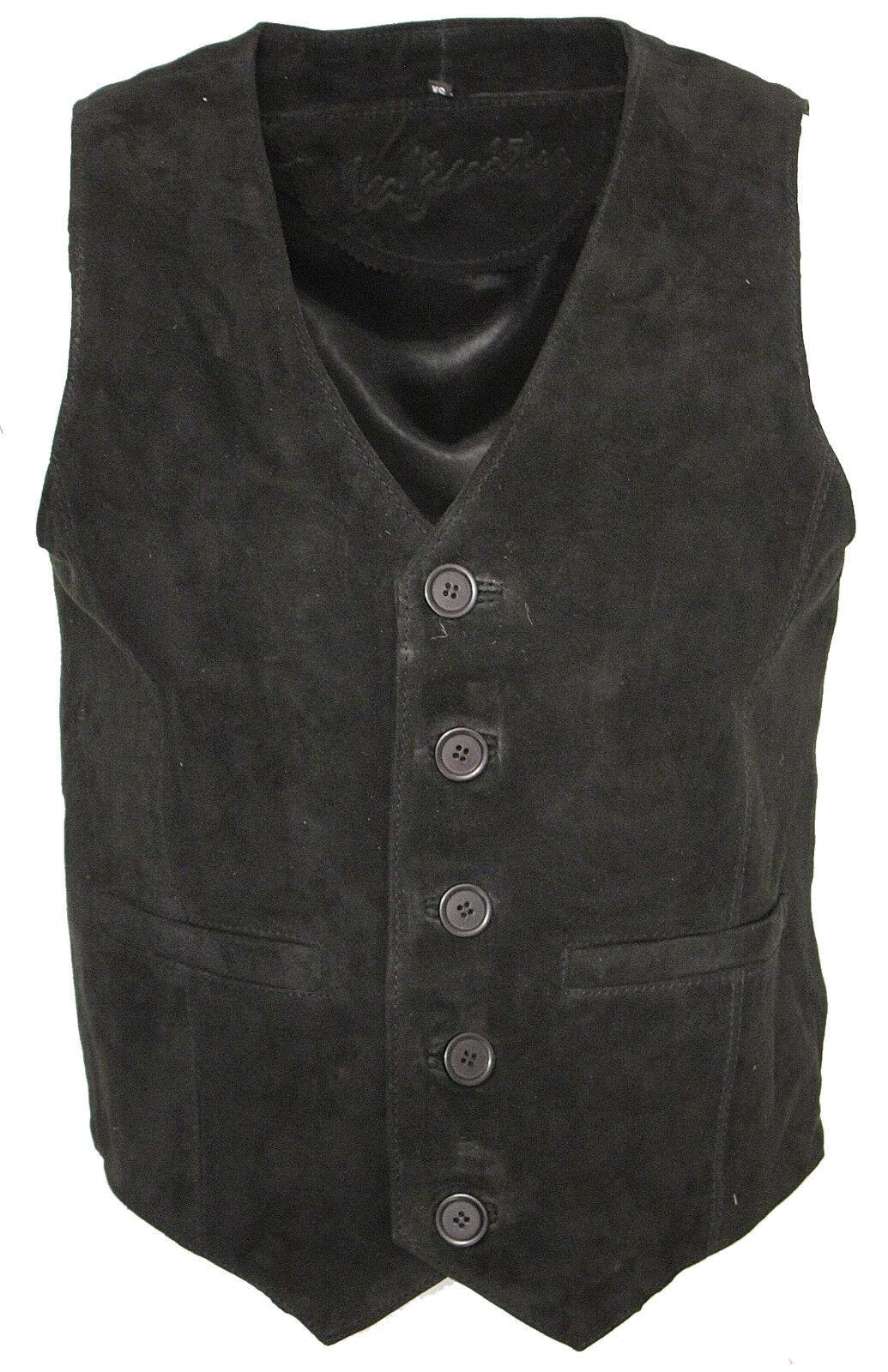 Herren Ziege Wildleder klassisch elegant schwarz Lederweste