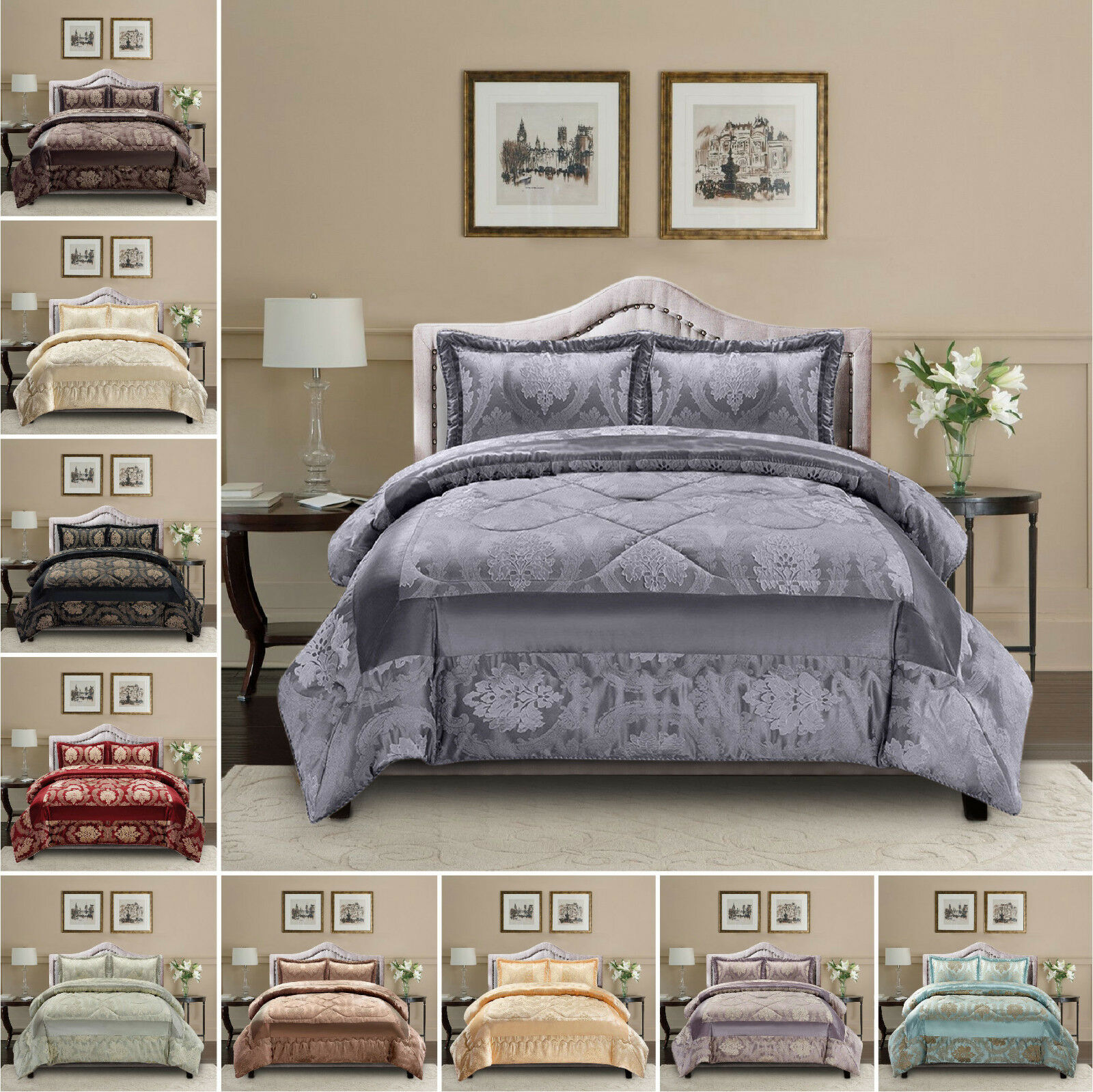 3 Piece Quilted Bedspread Set Bed Throw Comforter Double King Super King Size
