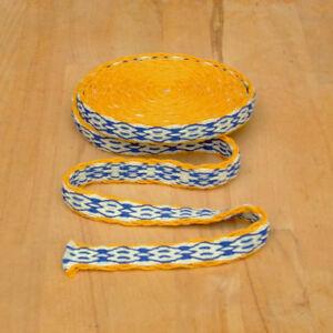 1-15m-Mittelalter-Reenactment-Handgewebte-Brettchenborte-Wolle-gelb-blau-natur