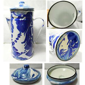 NEW-Enamelware-Swirl-Splatter-Ware-Cobalt-Blue-Teapot-Coffee-Pot-Farm-House-Camp
