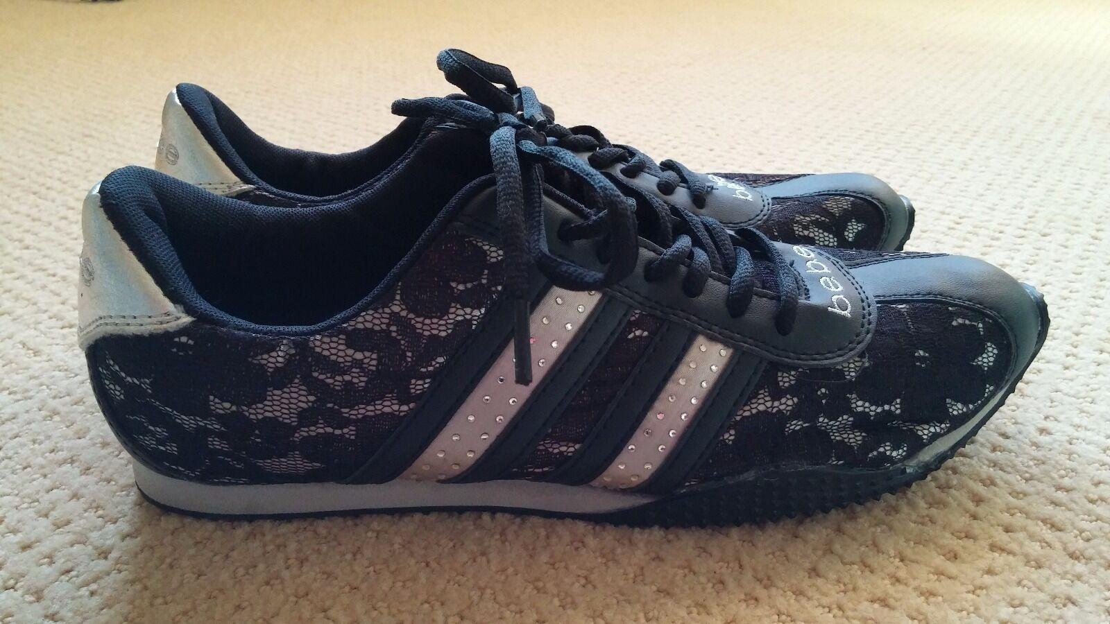 NWOT BEBE Damens's Sporty fashion schuhe RHINESTONE and LACE schwarz silver Größe 8.5