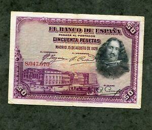 BILLETE 50  pesetas 1928 SIN SERIE   MBC
